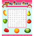 Word puzzle game template with fruit theme vector image vector image
