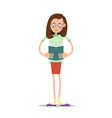 girl in glasses reading a book vector image