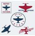 Set of vintage retro aeronautics flight badges and vector image