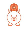 business piggy and bitcoin safety money vector image