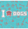 I love dogs Background with animal footprints vector image