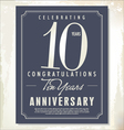 10 years anniversary background vector image