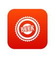 beer bottle cap icon digital red vector image vector image