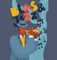black musician playing jazz music on trumpet vector image vector image