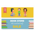 bookstore this weekend only sale and kids library vector image