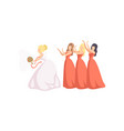 bride throwing her bouquet to bridesmaids at vector image vector image