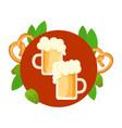 bright beautiful beer green leaves pretzels vector image vector image