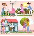cartoon set of happy lesbian couples walking vector image vector image