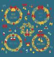 Christmas wreath decoration elements set for