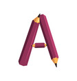 colorful alphabet letter a created with three vector image