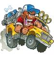 Crazy Redneck In Pickup Truck vector image vector image