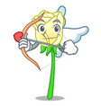 cupid white rose in the shape cartoon vector image