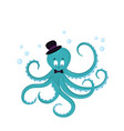 cute cartoon octopus in a hat and bow-tie vector image
