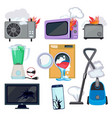 damaged appliance broken household equipment fire vector image vector image