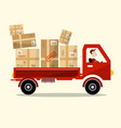 delivery service red car with paper boxes and vector image vector image