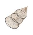 Fishing net coop trap fyke cartoon icon vector image vector image