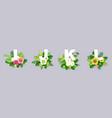 floral alphabet paper cut i vector image vector image