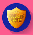 gold shield icon - protection symbol flat design vector image vector image