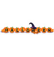 halloween with pumpkins and witchs hat vector image vector image