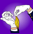 hands of magician pop art vector image vector image