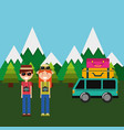 happy couple tourist vacation mountains van vector image vector image