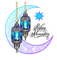 happy ramadan design for greeting card vector image vector image