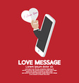 Heart In Hand From Smartphone Love Message Concept vector image vector image