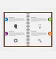 Infographics design template Open notebook with vector image