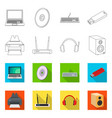 isolated object of laptop and device logo vector image vector image