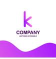 k company logo design with purple theme vector image vector image