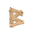 letter b wood board font plank and nails alphabet vector image vector image
