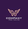 luxury logo letter n and wings simple n vector image vector image