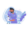 male character with cold symptoms sneezing vector image