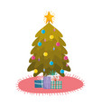 merry christmas decorative tree gifts star balls vector image vector image