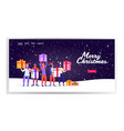 mix race people in santa claus hats holding gift vector image vector image