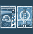 nautical marine lighthouse retro posters vector image