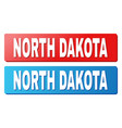 north dakota caption on blue and red rectangle vector image