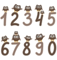 Numbers from zero to nine and owls vector image