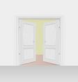 Opened interior doors hinged bivalve swings door vector image
