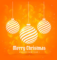 orange background with hanging christmas balls in vector image vector image