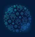 pets footprints round blue outline vector image