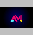 pink blue alphabet letter am a m combination for vector image vector image