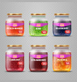realistic fruit jam glass jars isolated vector image