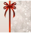 Red bow on a magical Christmas background vector image vector image
