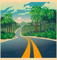 road through jungle in retro poster style vector image vector image