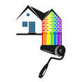 roller with color paint for painting at home vector image vector image