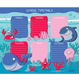 School timetable sea animals vector image