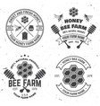set honey bee farm badge concept for vector image vector image