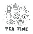 set of cute outline hand drawn tea pots isolated vector image