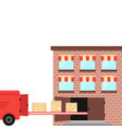 shipment ex warehouse on delivery vehicle vector image vector image